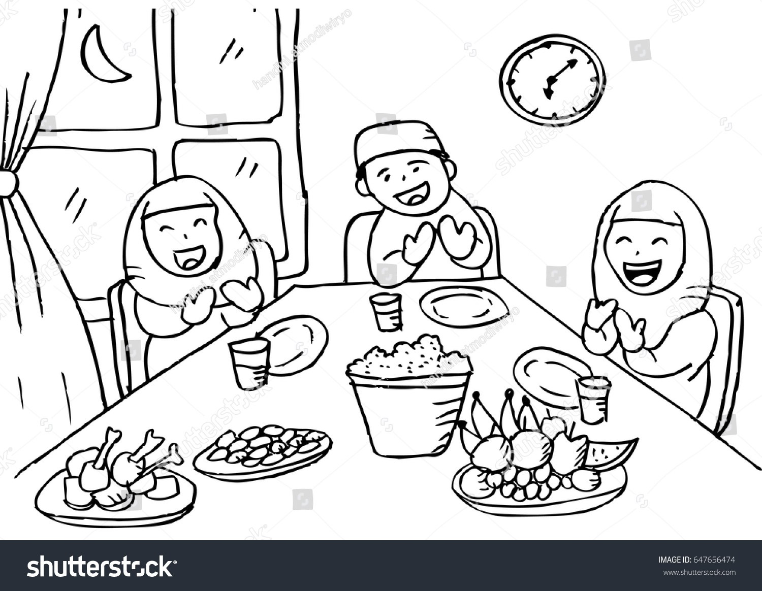Black family eating together clipart royalty free library Family eating together clipart black and white 5 » Clipart Portal royalty free library