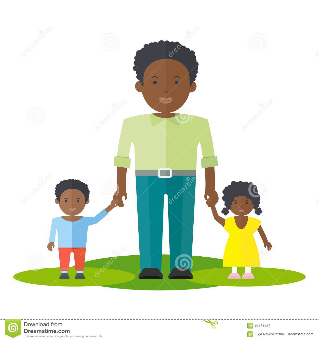 Black father with kids clipart image royalty free stock Black Father And Son Clipart image royalty free stock