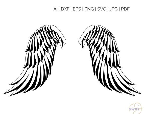 Black feather angel wing clipart banner free library Angel Wings SVG, Silhouette and Cricut Cut Cutting file, svg files ... banner free library