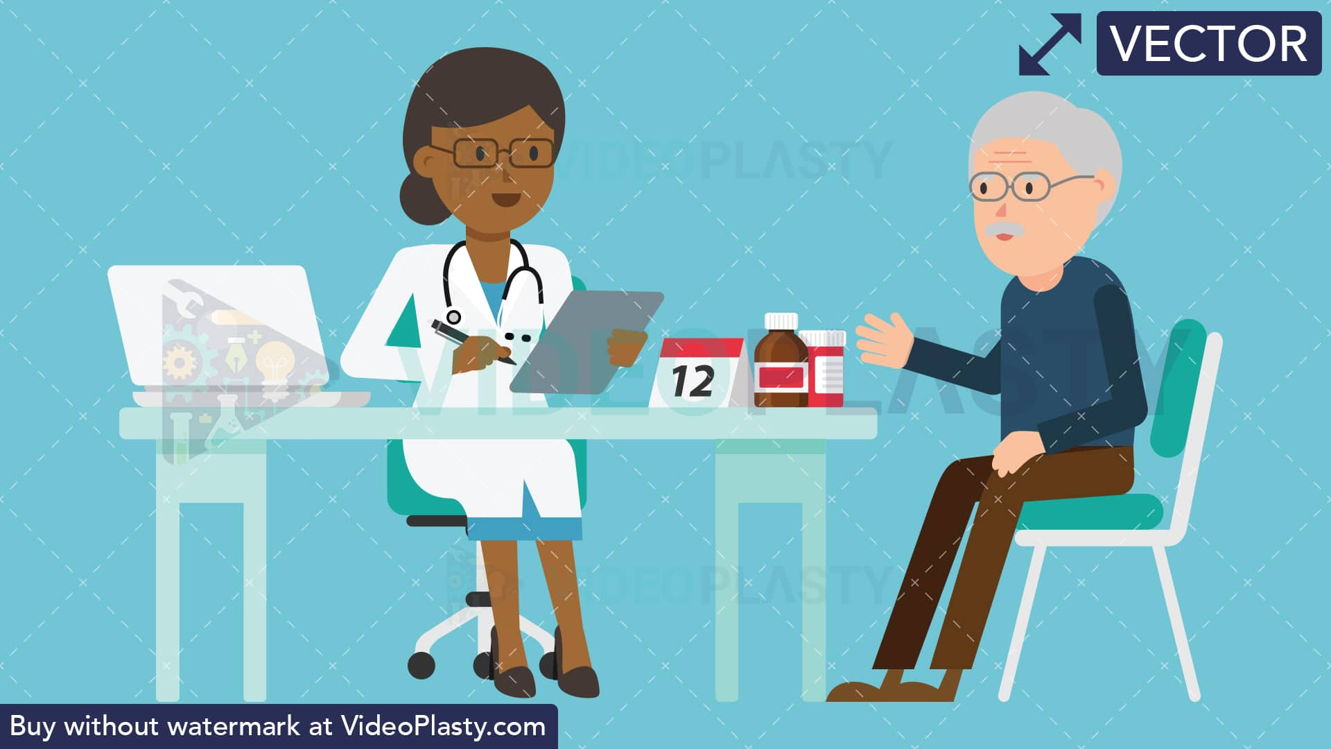 Black female doctor clipart graphic royalty free Black Female Doctor with Patient Consultation [VECTOR] graphic royalty free