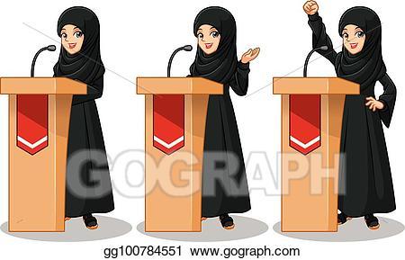 Black female politician clipart clip art black and white Vector Stock - Set of arab businesswoman in black dress giving a ... clip art black and white
