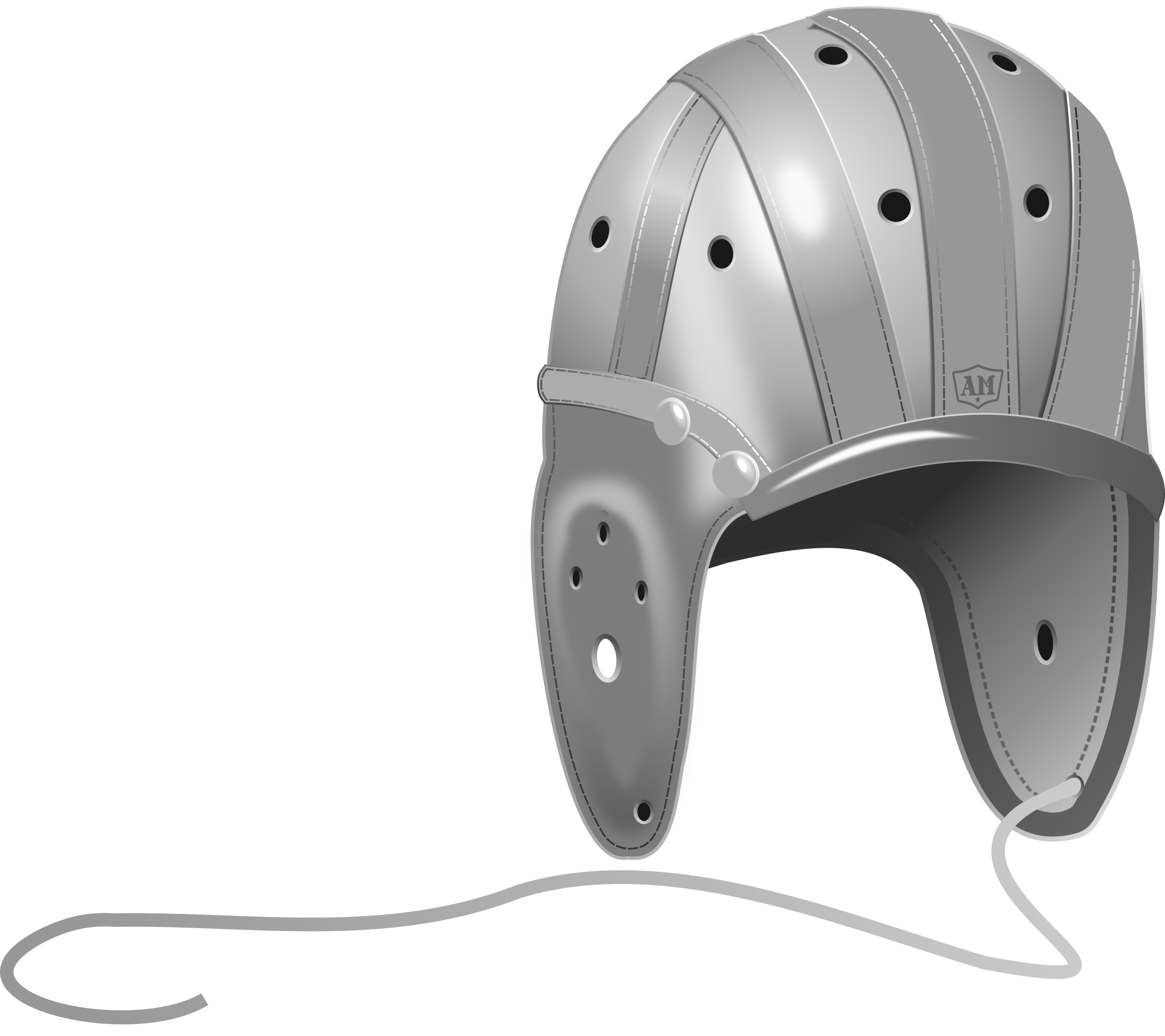 Clipart - 1940's Leather Football Helmet image download