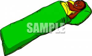 Black girl sleeping clipart png black and white Clip Art Image: A Black Girl Sleeping In a Green Sleeping Bag png black and white