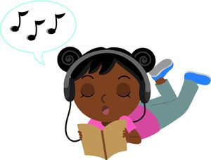 Black girl to reading clipart