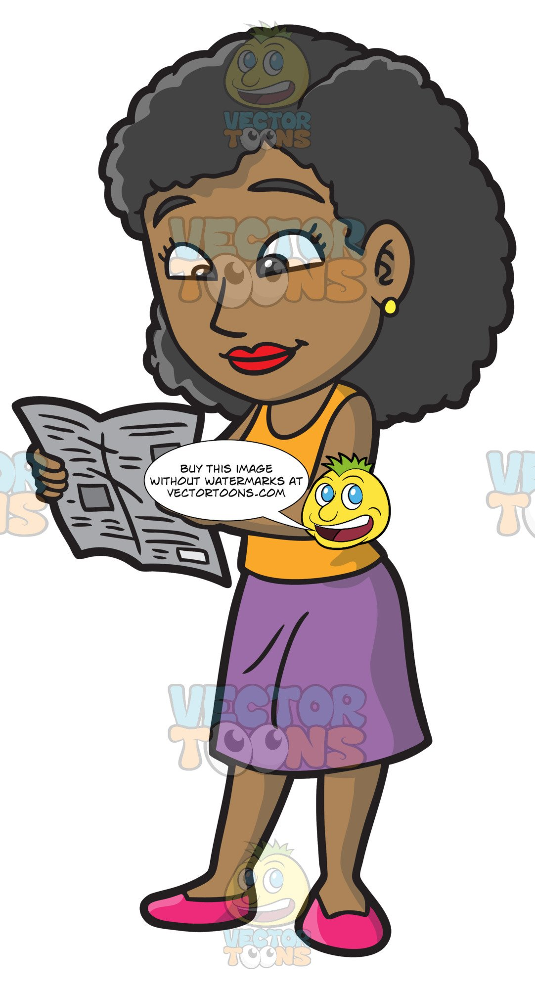 Black girl to reading clipart picture freeuse A Black Woman Reading The Newspaper picture freeuse