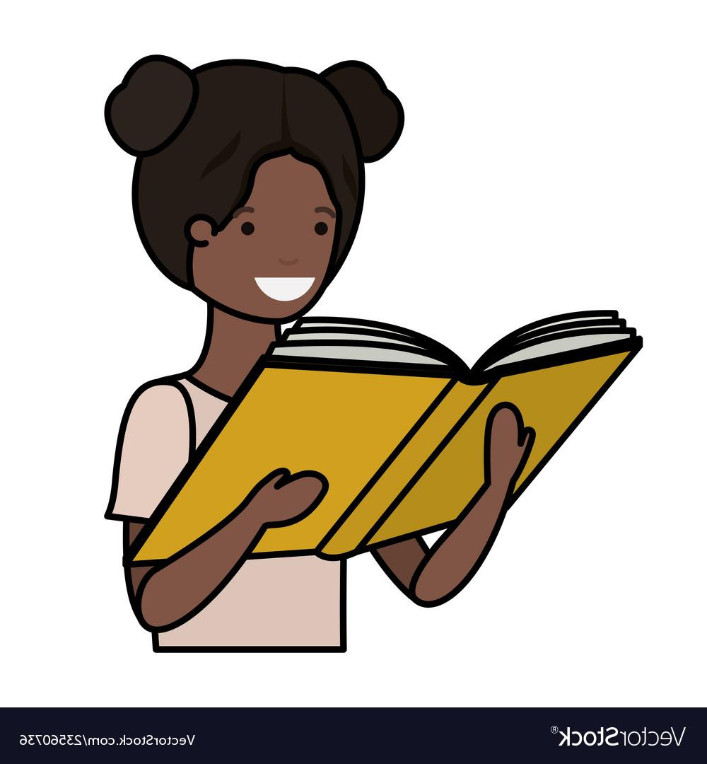 Black girl to reading clipart image black and white library Unique Black Girl Reading Vector Drawing » Free Vector Art, Images ... image black and white library