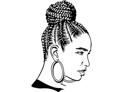 Black girl with braids clipart graphic transparent stock Amazon.com: EvelynDavid Black Woman Braids Hairstyle Stylish ... graphic transparent stock