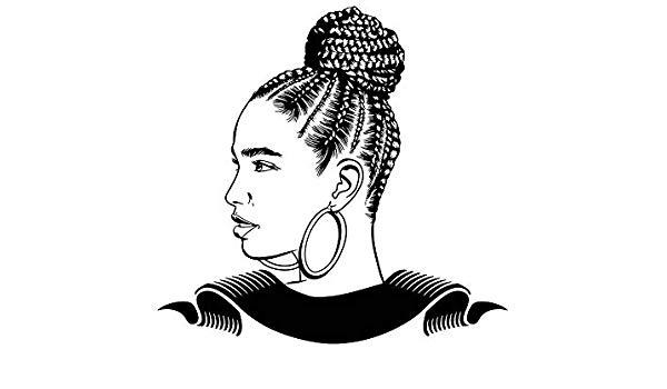 Black girl with braids clipart svg free stock Amazon.com: EvelynDavid Black Woman Braids Hairstyle Stylish ... svg free stock