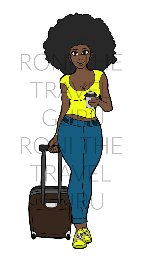 Black girl with sunglasses clipart black and white stock Carry-On Girl Digital Black Girl Art black and white stock
