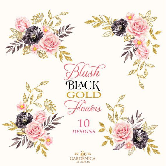 Black gold flowers clipart graphic freeuse download Black and Gold Watercolor Flowers Clipart, Blush Pink, Black Flower ... graphic freeuse download