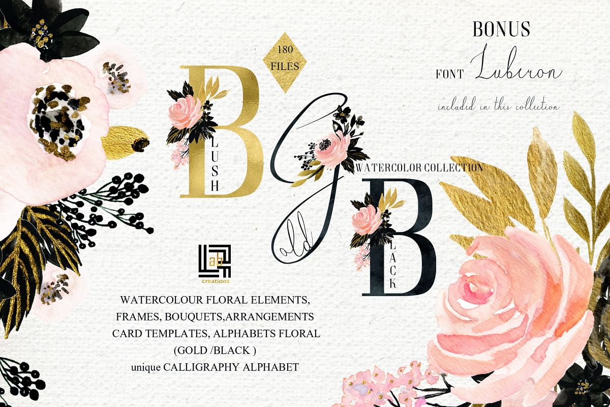 Black gold flowers clipart svg free download Blush pink Gold Black. Watercolour flowers Digital clipart designer kit. svg free download