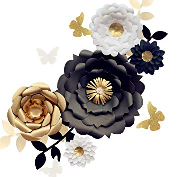 Black gold flowers clipart clipart free Fonder Mols 3D Paper Flower Decorations(Set of 13, White Black Gold), Giant  Paper Flowers for... clipart free