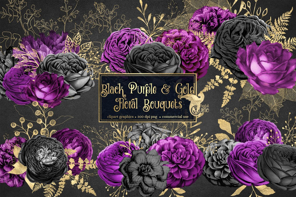 Black gold flowers clipart png download Black Purple & Gold Floral Clipart png download