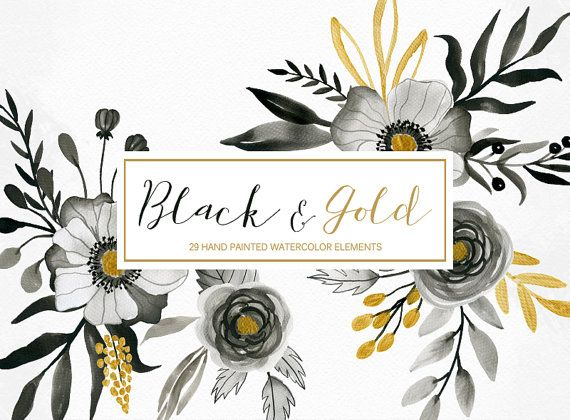 Black gold flowers clipart graphic Watercolor floral clipart black and gold hand by LanaDreamsDesign ... graphic