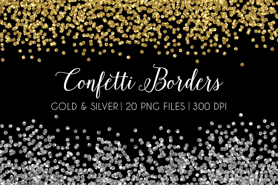 Black gold silver border clipart jpg library download Glitter Confetti Border Gold Silver jpg library download