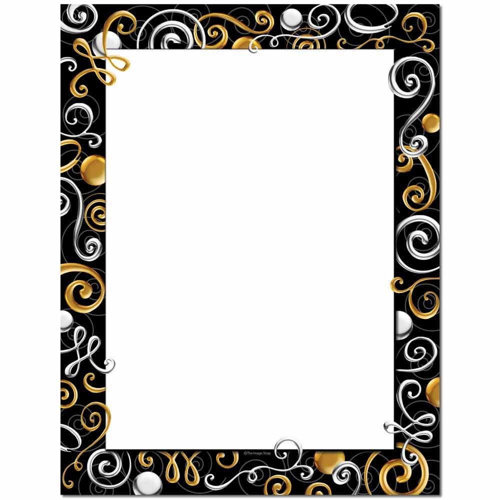 Black gold silver border clipart banner Gold & Silver Swirls Letterhead Laser & Inkjet Printer Paper, 100 pack banner