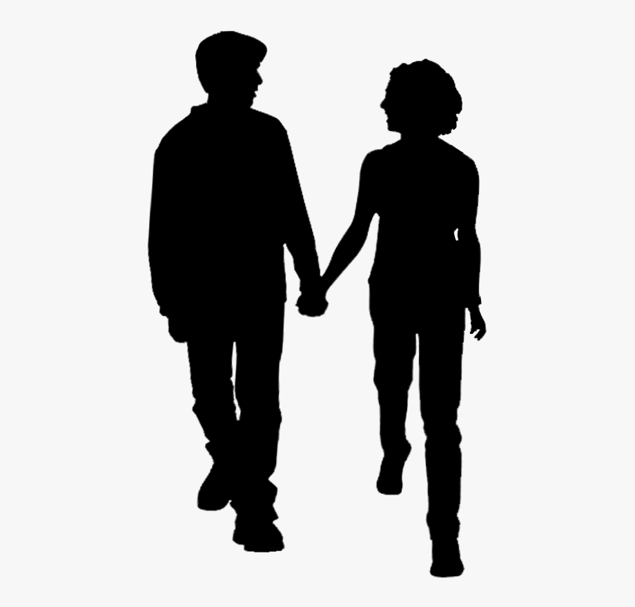 Two people walking together clipart