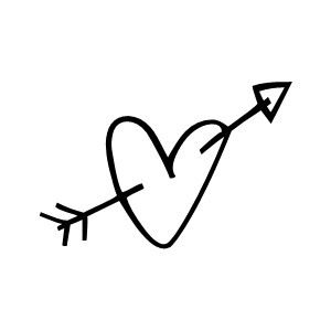 Black heart arrow clipart png black and white Arrow In Hearts - ClipArt Best png black and white