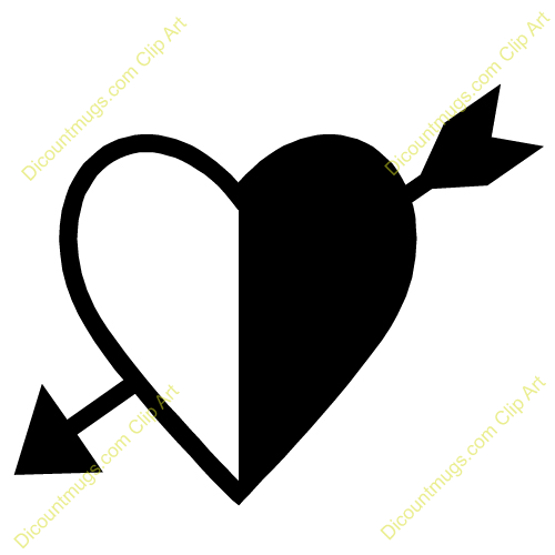 Black heart arrow clipart vector freeuse stock Black and white heart and arrow clipart - ClipartFest vector freeuse stock