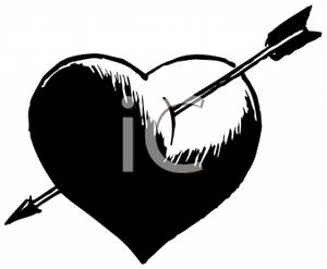 Black heart arrow clipart freeuse download Black and white heart with arrow clipart - ClipartFest freeuse download