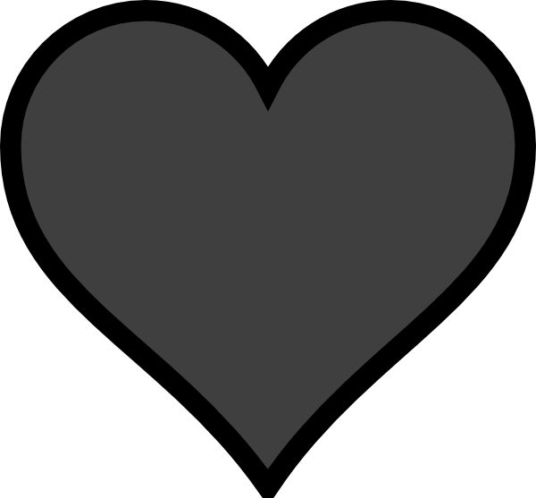 Grey Heart Black Outline Clip Art at Clker.com - vector clip art ... graphic black and white