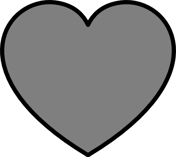Heart clipart black and white outline png freeuse Solid Dark Gray Heart With Black Outline Clip Art at Clker.com ... png freeuse