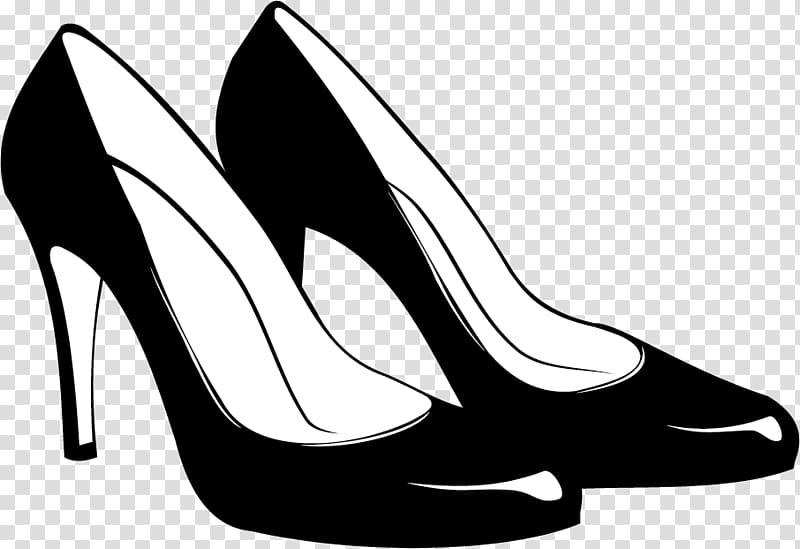 Black high heels clipart jpg black and white stock Pair of black pumps , Shoe High-heeled footwear Stiletto heel ... jpg black and white stock