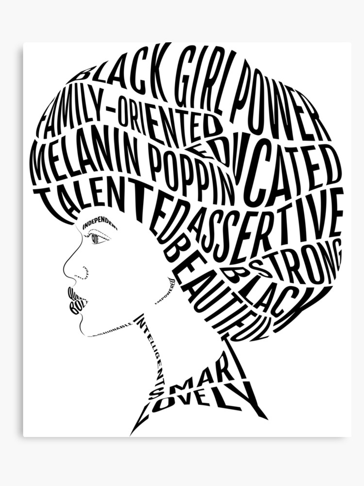 Black history month black and white clipart picture free stock Afro Hair Word Attributes Design For Black History Month | Canvas Print picture free stock