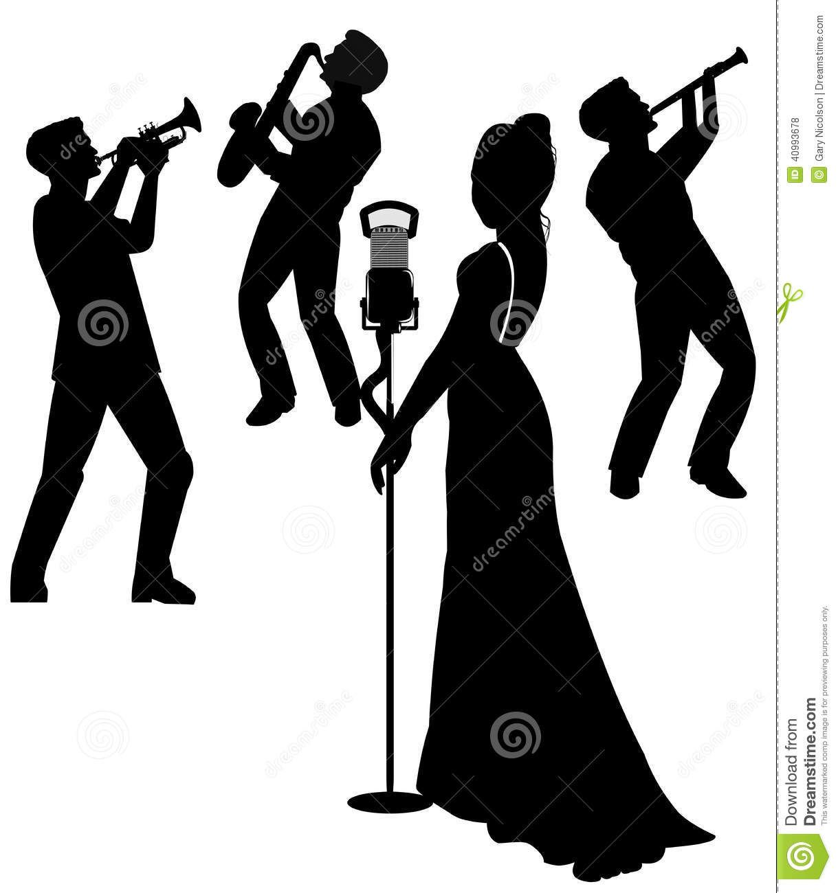 Black jazz musicain clipart graphic stock Images For > Jazz Singer Clip Art Silhouette | jazz | Silhouette ... graphic stock