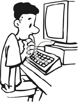Person at computer black and white clipart jpg black and white stock Computer Clipart Black And White | Free download best Computer ... jpg black and white stock