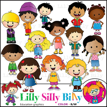 Black kids clipart clip royalty free stock Just Kids. Clipart. BLACK AND WHITE & Color Bundle. {Lilly Silly Billy} clip royalty free stock