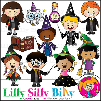 Black kids clipart vector free download Magic Kids. Clipart. BLACK AND WHITE & Color Bundle. {Lilly Silly Billy} vector free download