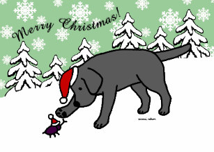 Black lab christmas clipart clipart freeuse library Lab Cartoon Christmas Cards | Zazzle clipart freeuse library