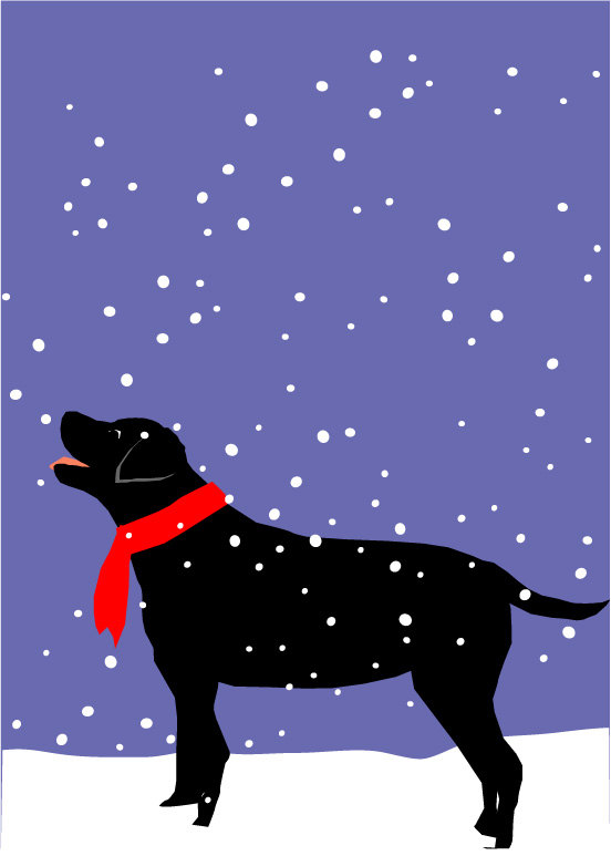 Black lab christmas clipart svg freeuse library black lab in snow dog greeting card collection Christmas winter ... svg freeuse library