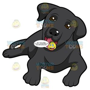 Black labrador retriever clipart banner royalty free library Cute Black Labrador Puppy Lying Down With Its Tongue Sticking Out banner royalty free library