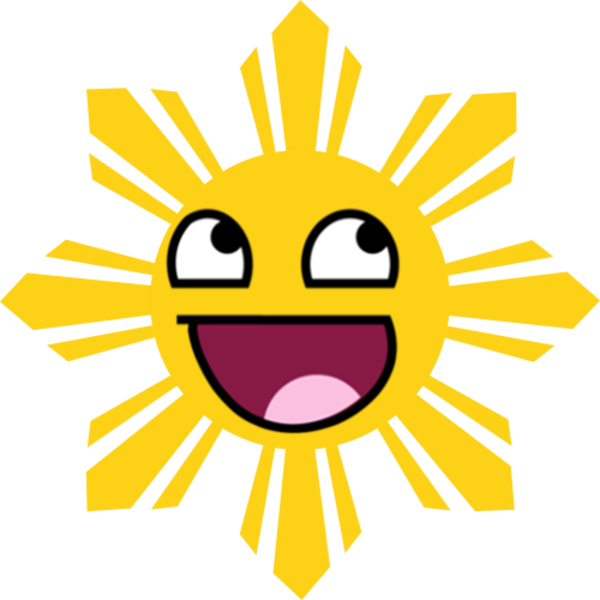 Black line smiling sun clipart clip black and white library Image - 249143] | Awesome Face / Epic Smiley | Know Your Meme clip black and white library
