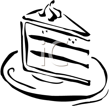 Slice of cake black and white clipart