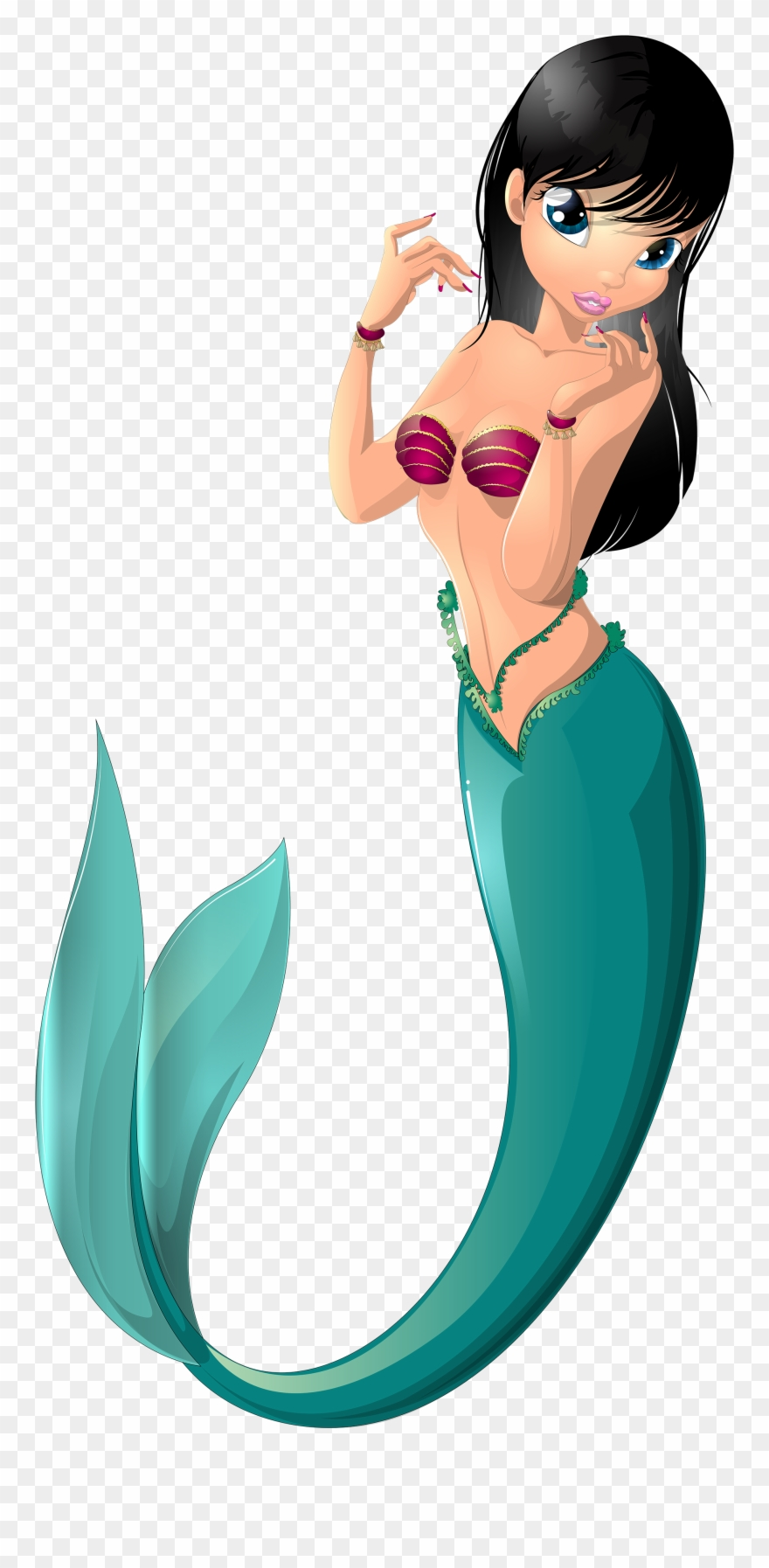 Black mermaid with beads clipart vector royalty free library Mermaid Png Clip Art Imageu200b Gallery Yopriceville - Black Hair ... vector royalty free library