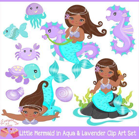 Black mermaid with beads clipart free download African-american Little Mermaids Mermaid in Aqua & Purple Clipart ... free download