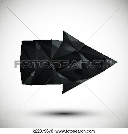 Black modern arrow clipart jpg free stock Clip Art of Black arrow geometric icon made in 3d modern style ... jpg free stock