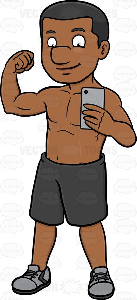 Black muscular guy clipart clipart free stock A black guy flexing his muscle while posing to take a photo of ... clipart free stock
