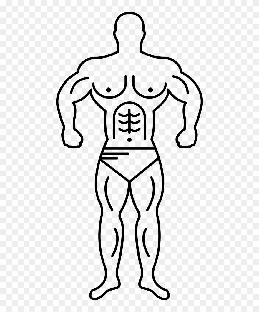 Black muscular guy clipart transparent Muscle Man Line Art Vector Png - Muscle Guy Drawing Easy Clipart ... transparent
