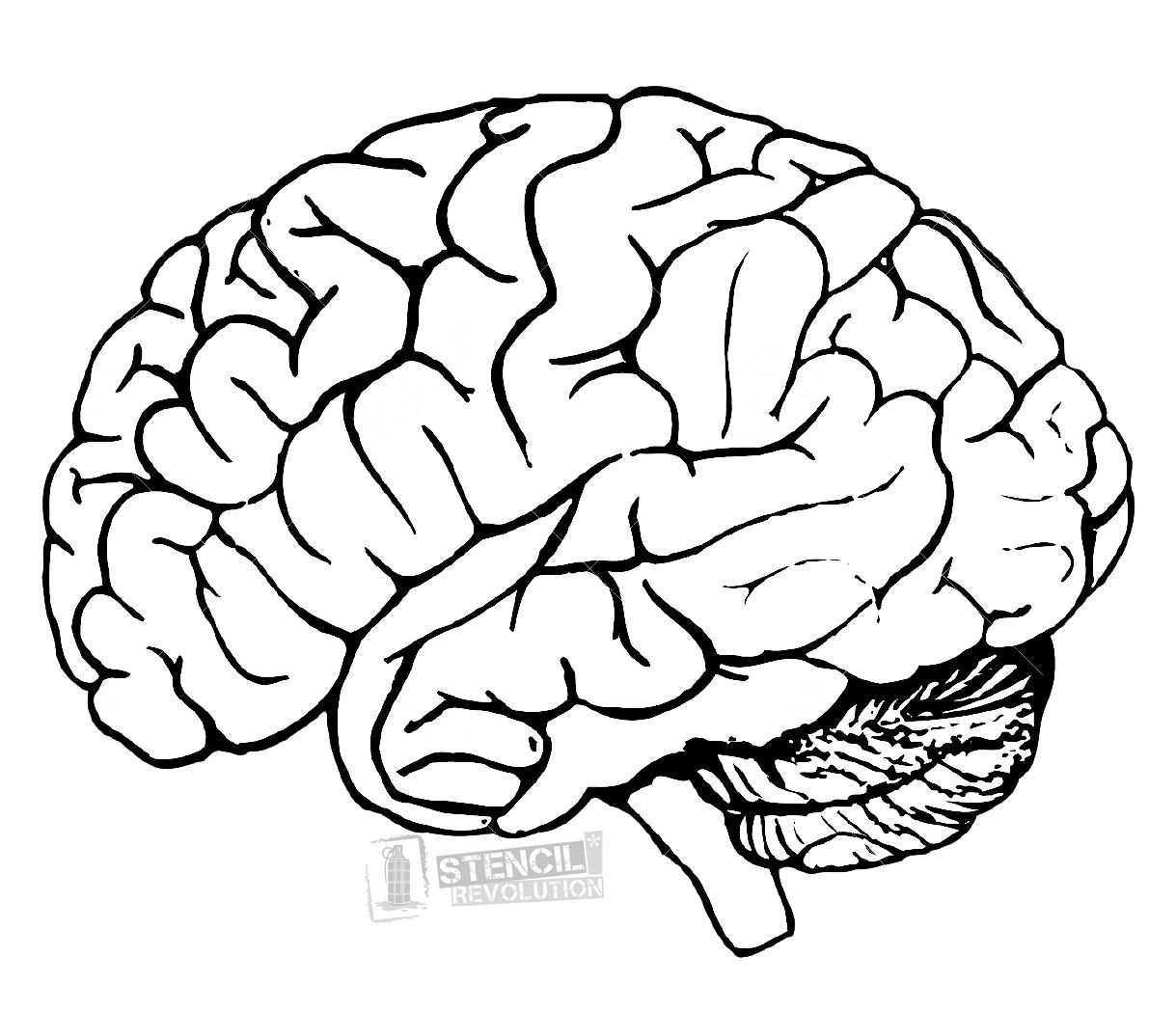 Black outline of figure with brain clipart clip art transparent Brain Stencil   Stencils and patches in 2019   Brain painting, Brain ... clip art transparent
