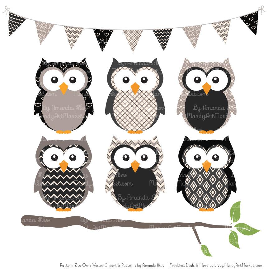 Black owl clipart picture black and white Black Patterned Owl Clipart & Patterns picture black and white