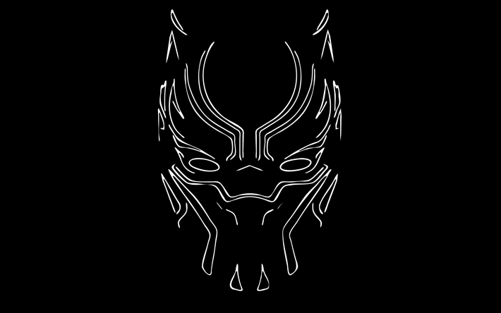 Black panther minimalist clipart picture black and white library Download wallpapers Black Panther, 4k, linear art, 2018 movie ... picture black and white library