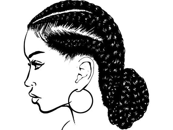 Black person with black braids hair clipart picture black and white library Black Girl With Braids Drawing | Free download best Black Girl With ... picture black and white library