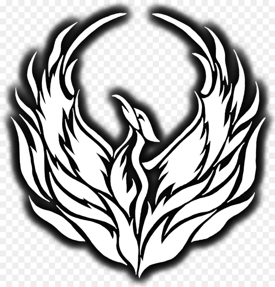 Black phoenix clipart clip art black and white Black And White Flower clipart - Phoenix, Tshirt, White, transparent ... clip art black and white