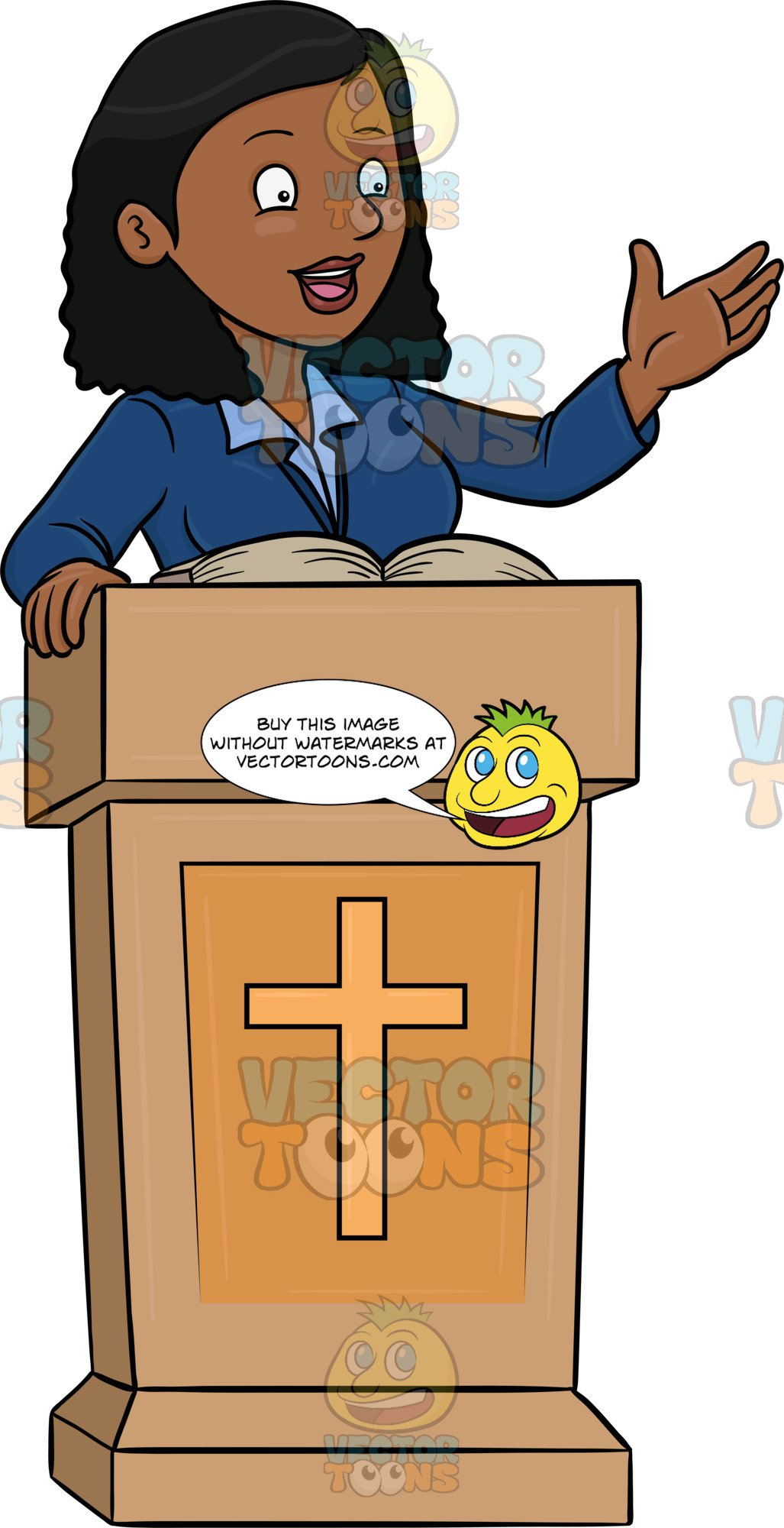 Black preacher clipart picture free download A Black Female Preacher Telling The Good News picture free download