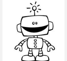 Simple robot with balloon clipart black and white svg library stock Cute robot clipart black and white - Clip Art Library svg library stock