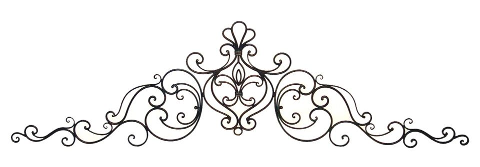 Black rod iron scroll clipart jpg library stock 83\'\' Tuscan Wrought Iron Wall Grille Pediment Swag | Gardens ... jpg library stock